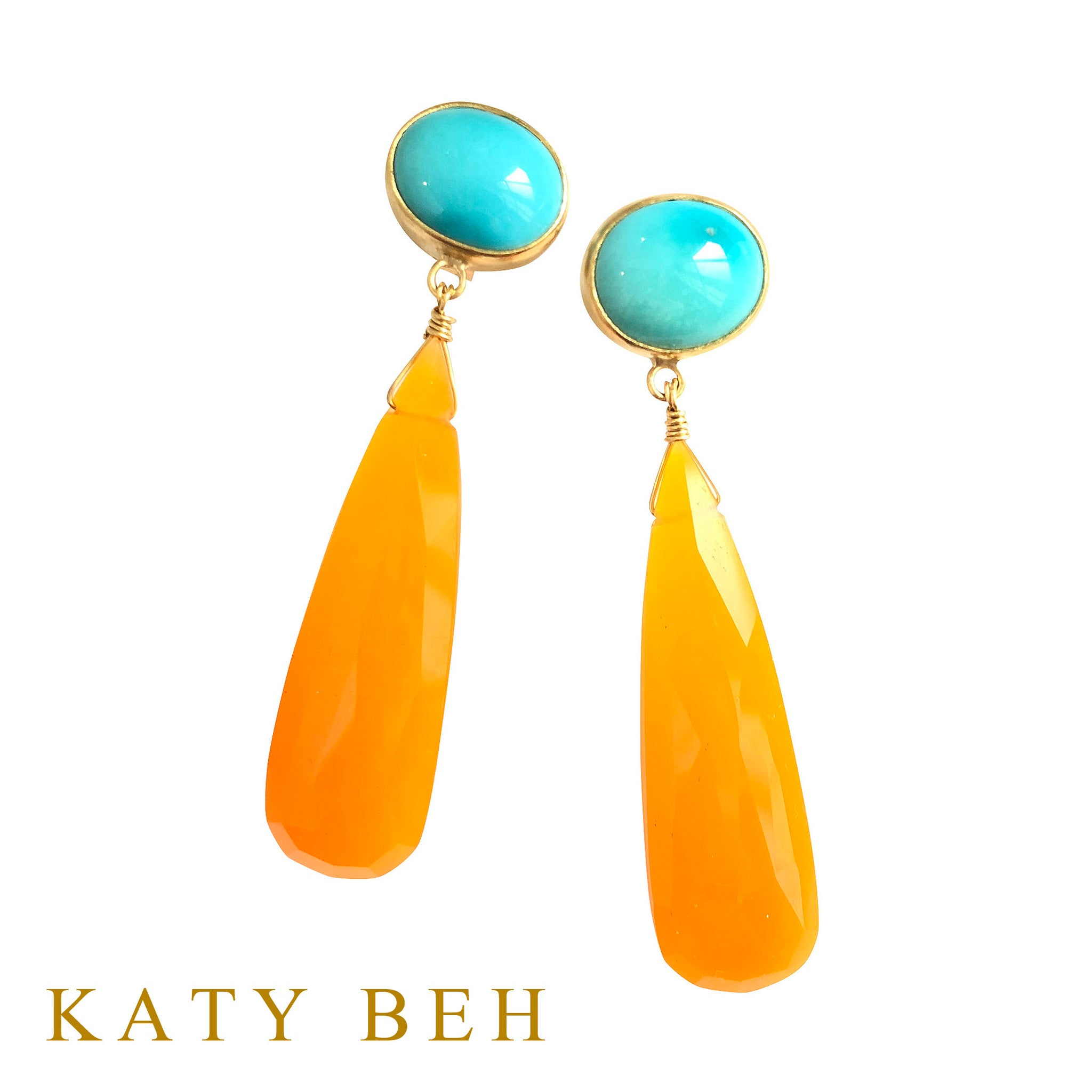 Gloria Turquoise and Orange Chalcedony Earrings