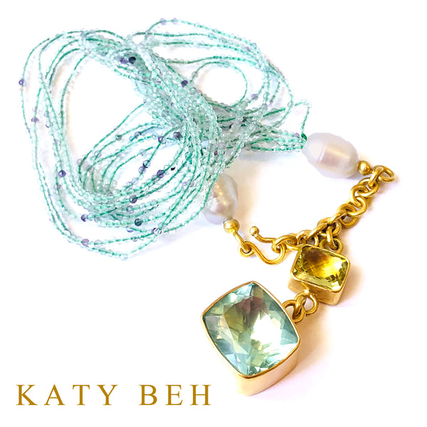 Harriet Fluorite, Pearl & Lemon Quartz Necklace