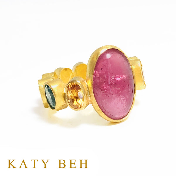 Heather Rubellite and Fancy Sapphire Ring
