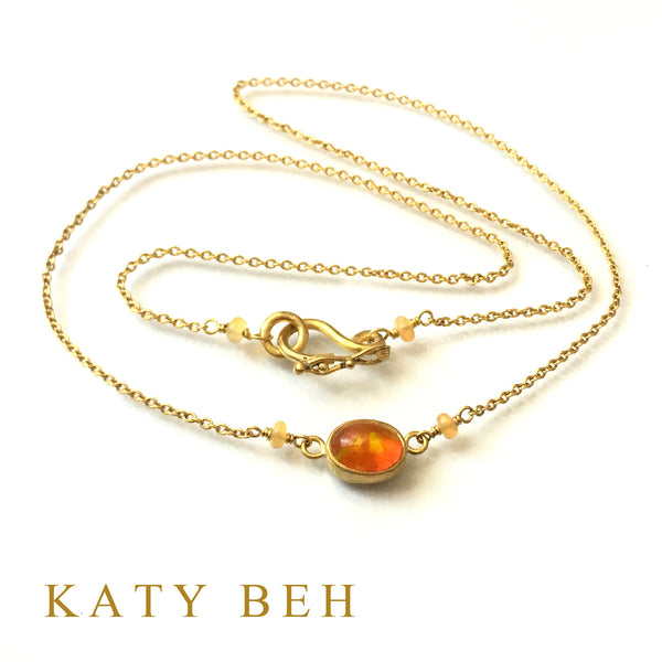 Honey Fire Welo Opal Necklace