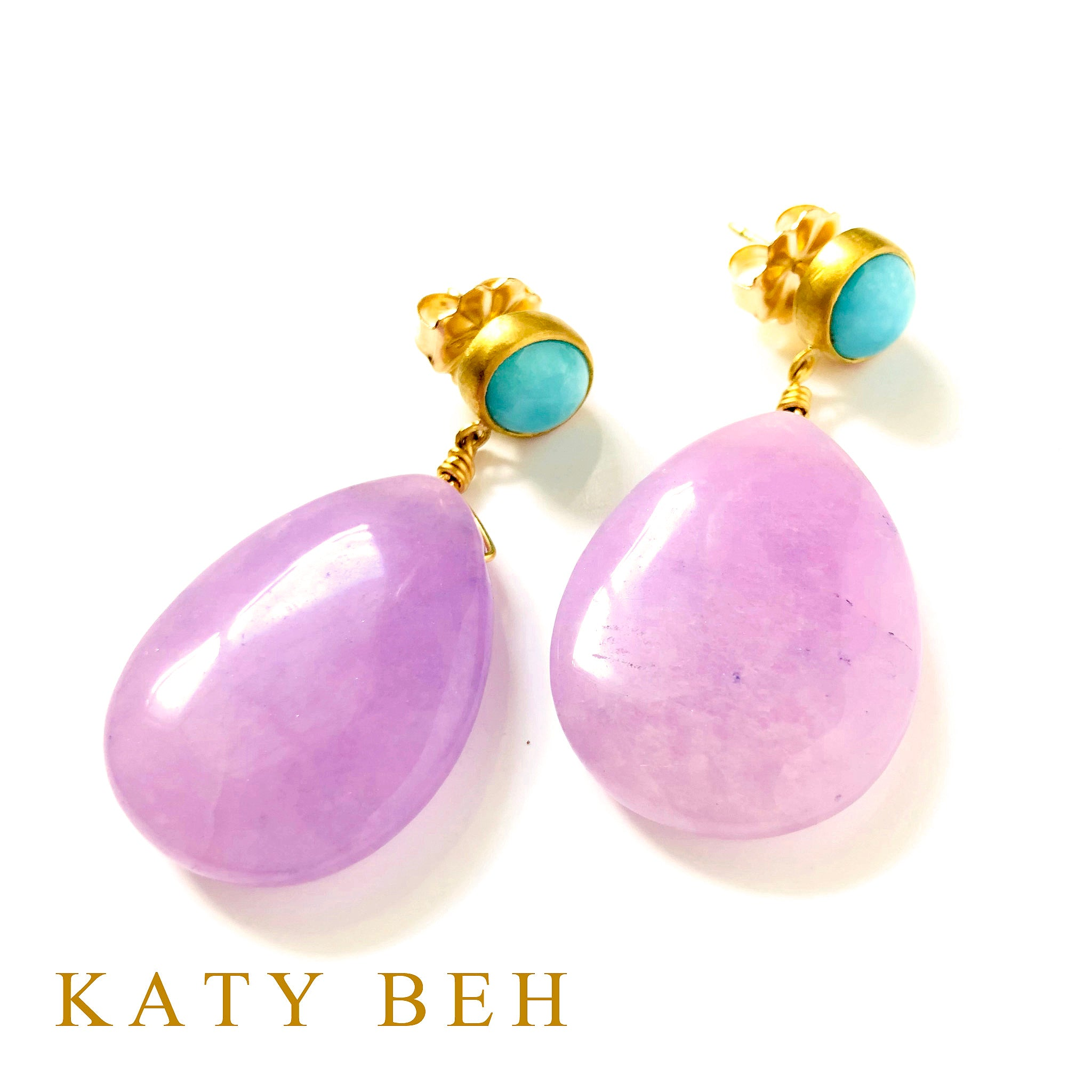 Hyelin Turquoise and Purple Jade Earrings