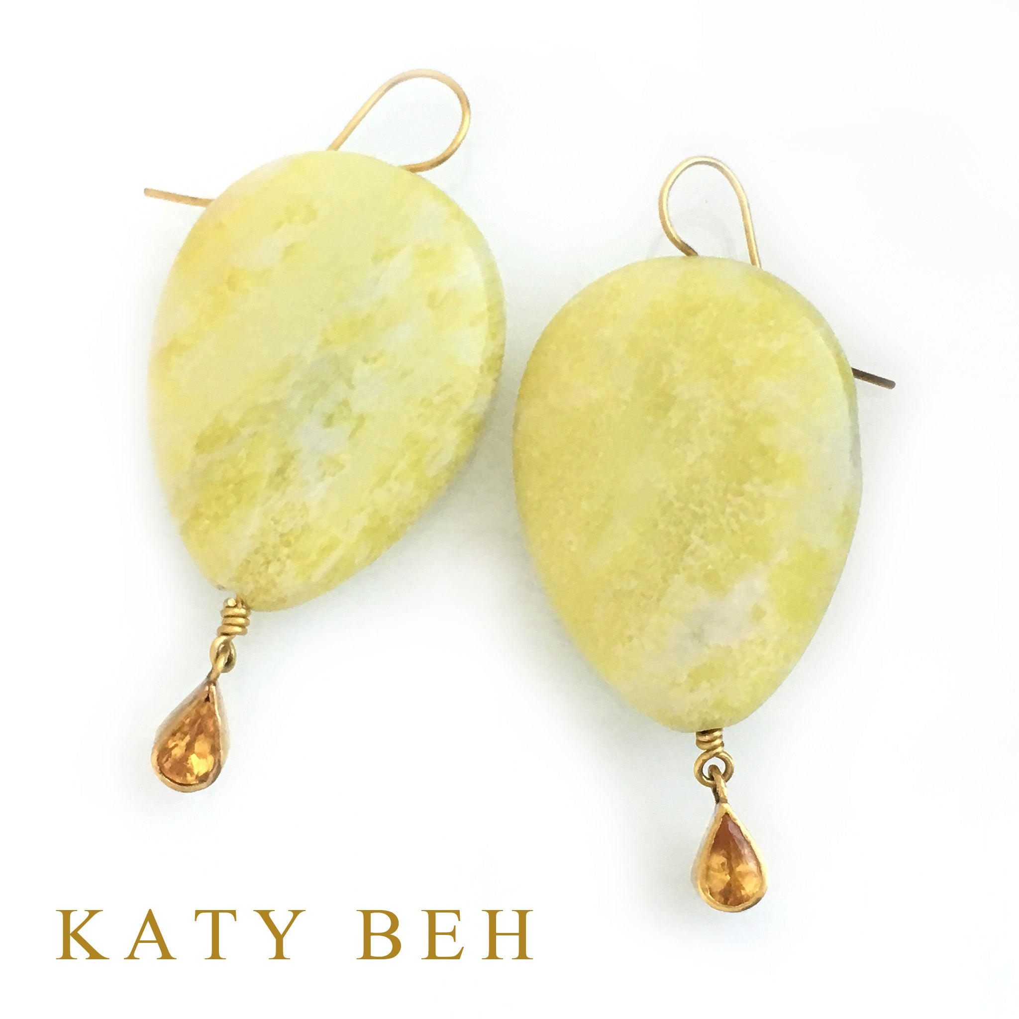 Hailey Yellow Sapphire and Peridot Jasper Earrings
