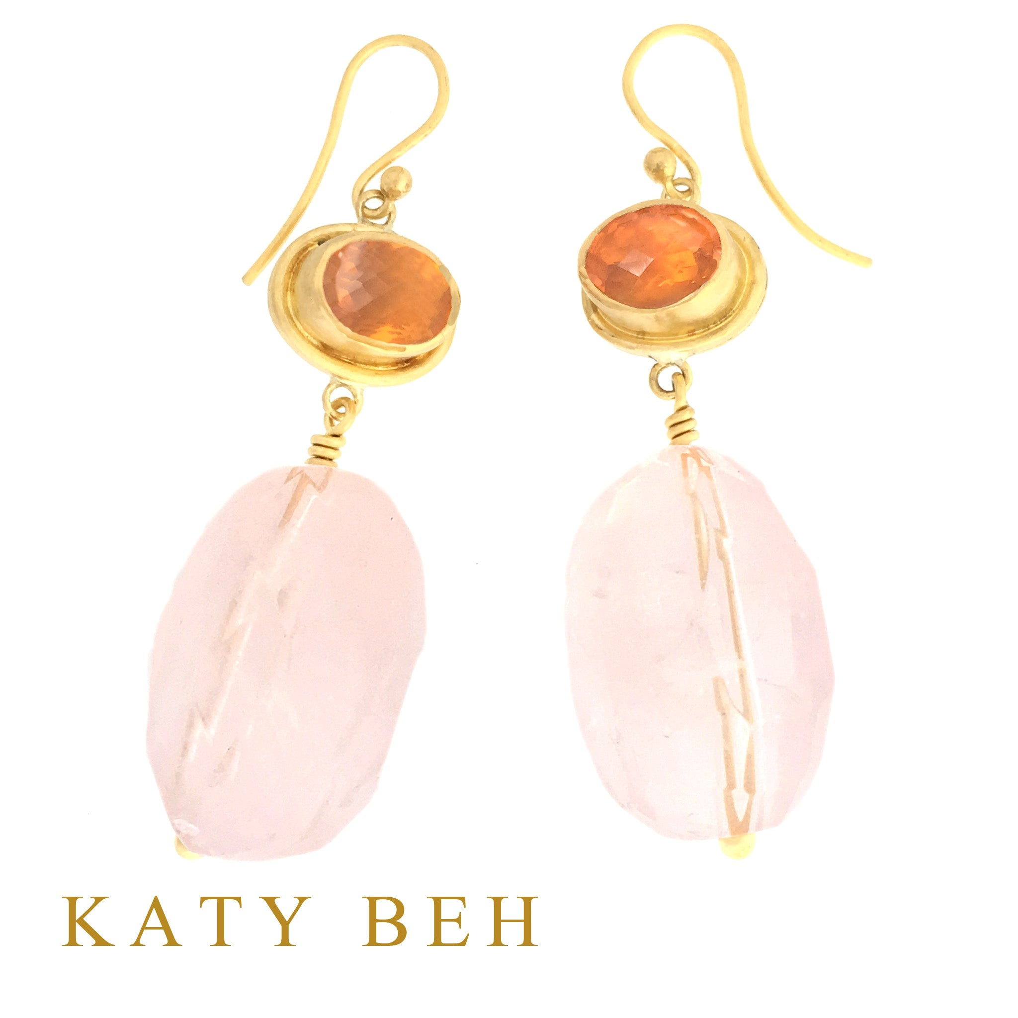 Lee Fire Opal & Rose Quartz Earrings