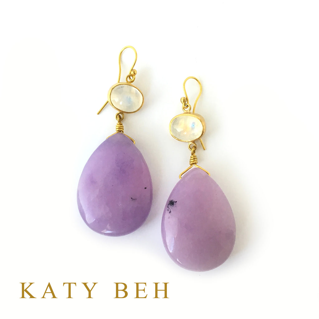 Janet Rainbow Moonstone & Purple Jade Earrings