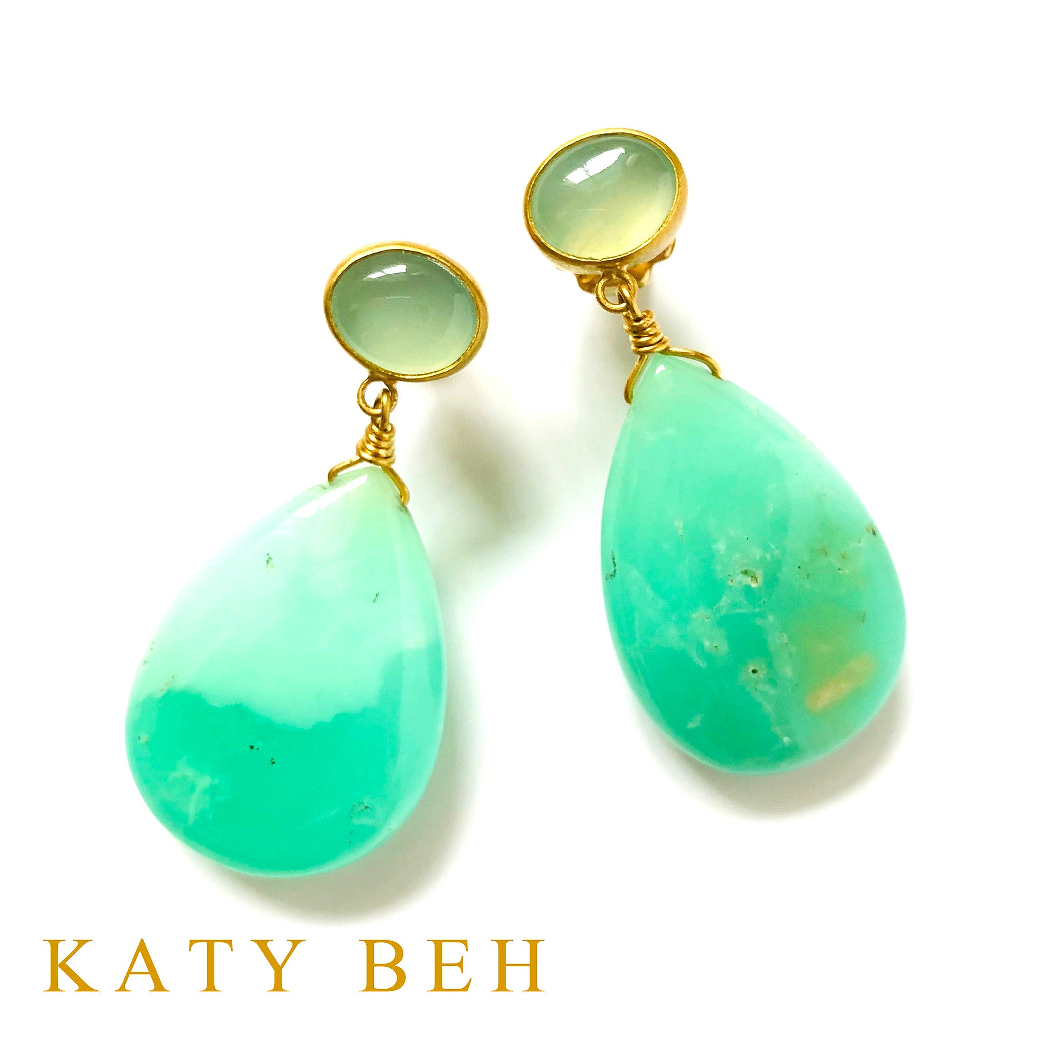 Jeongwya Peruvian Chalcedony and Chrysoprase Earrings