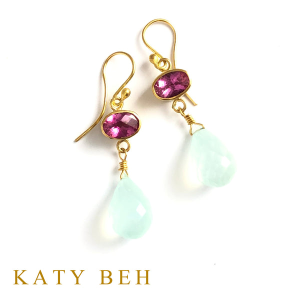 Jessica Rubellite and Peruvian Chalcedony Earrings