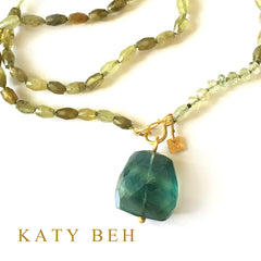Iliana Green Garnet & Beryl Necklace