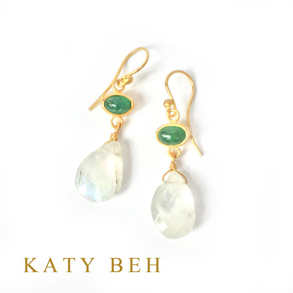 Alyssa Emerald & Rainbow Moonstone Earrings