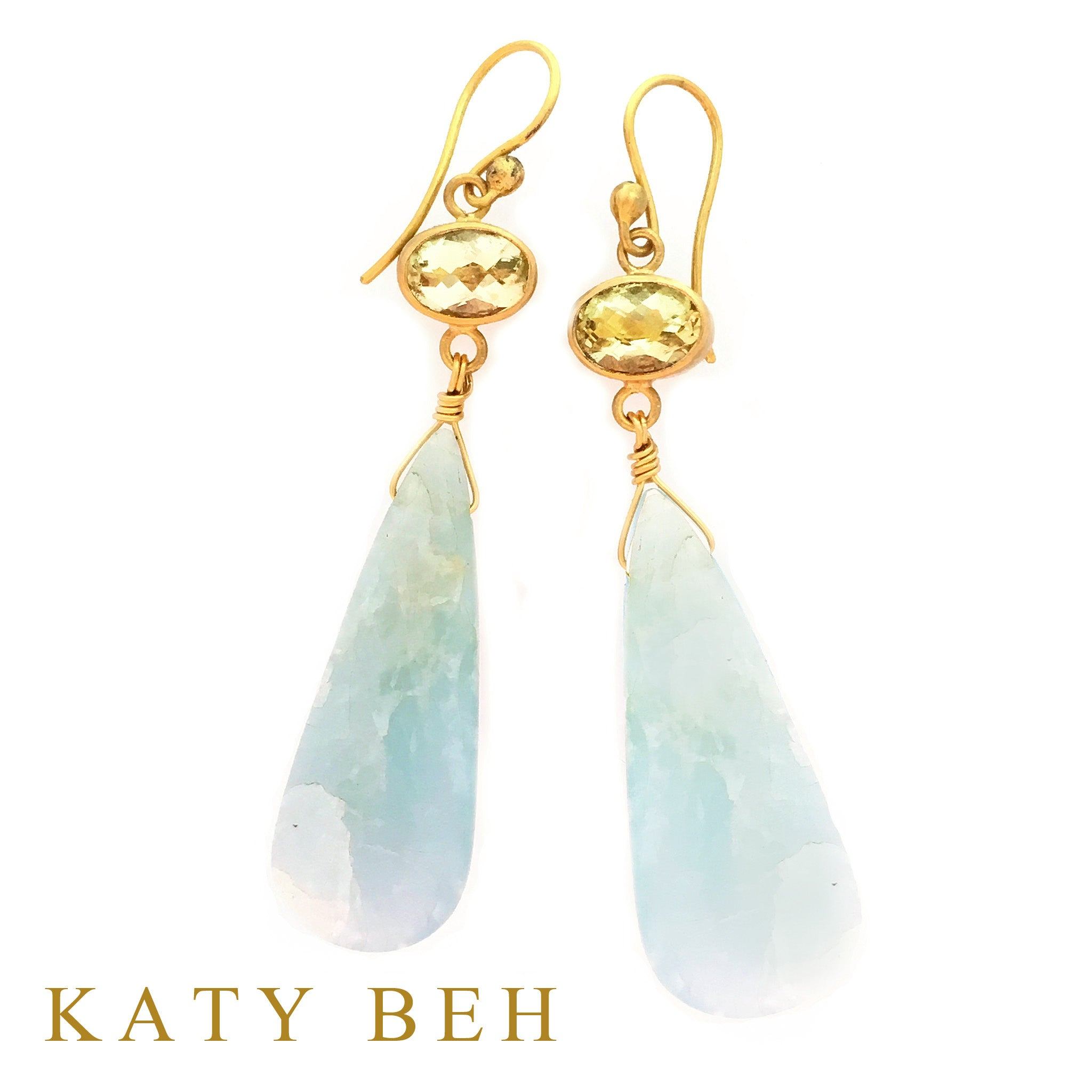 Cora Lemon Quartz & Aquamarine Earrings