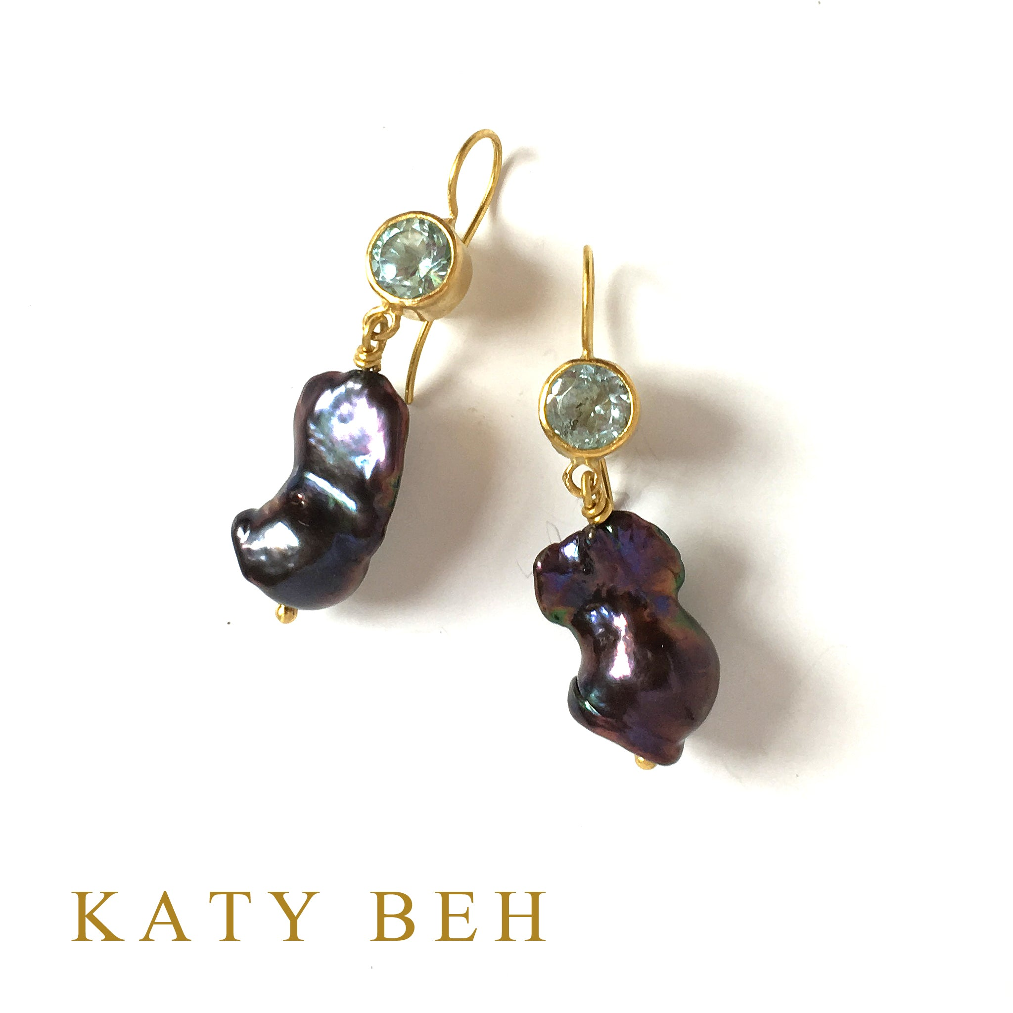 Inez Blue Topaz and Purple Keshi Pearl Earrings