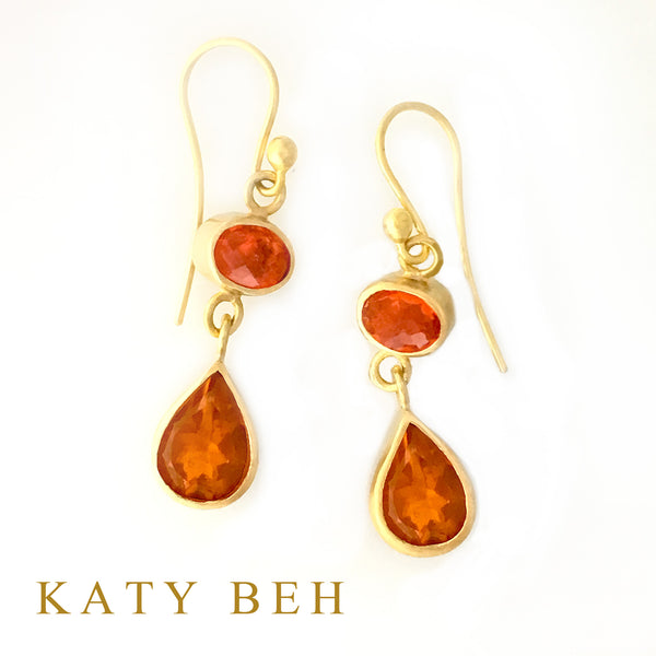 Jenna Orange Fire Opal Earrings