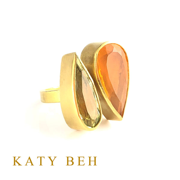 Sabina Golden Beryl and Mexican Fire Opal Ring