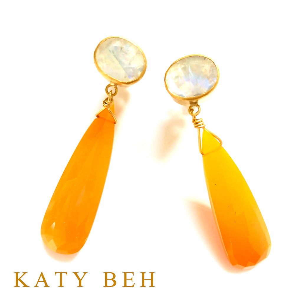 LE Moonstone and Orange Chalcedony Earrings