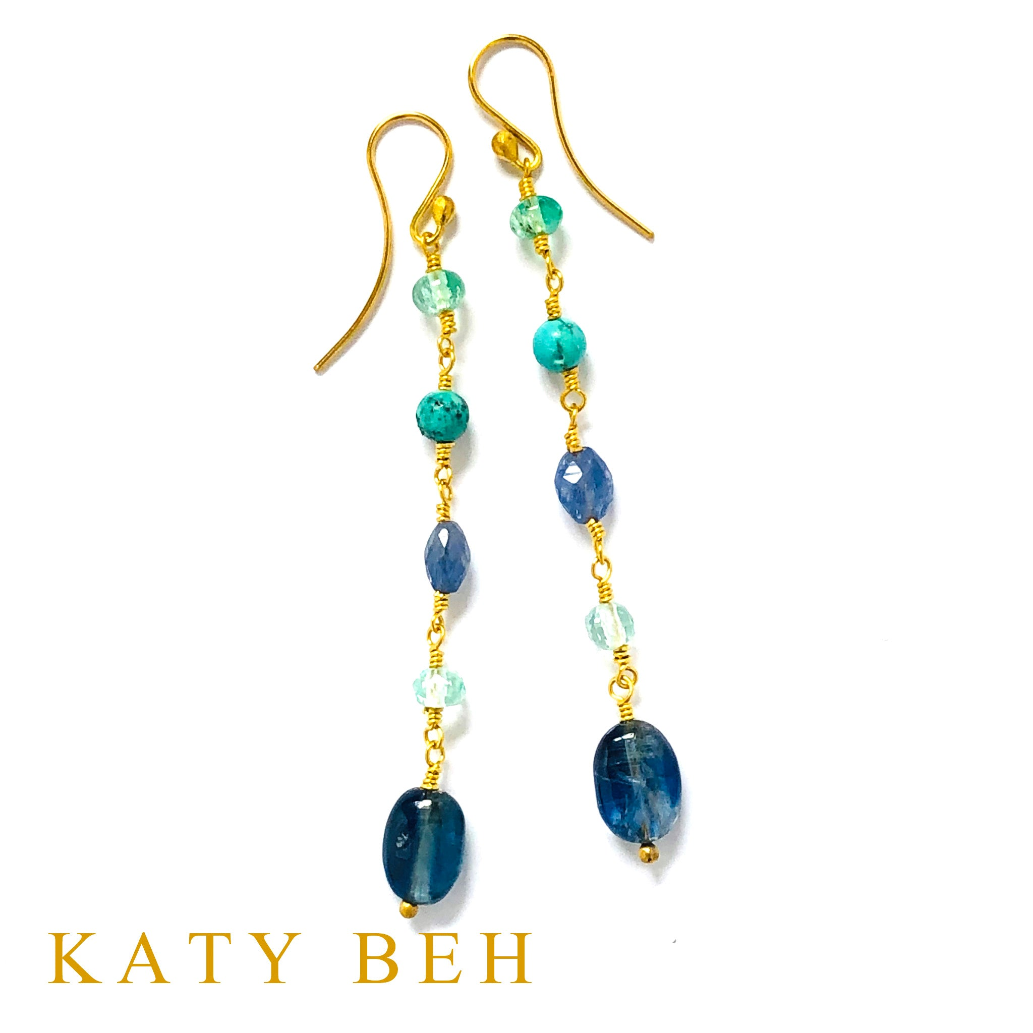 La Emerald and Tanzanite Mix Earrings