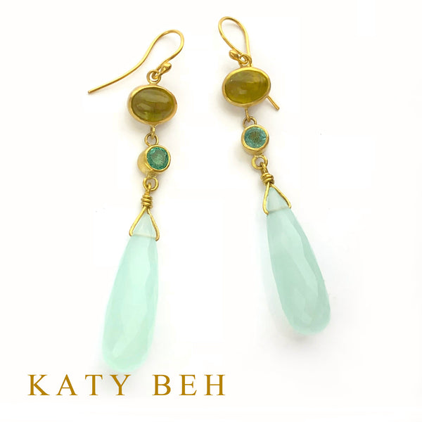 Lola Green Apatite, Emerald and Chalcedony Earrings