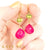 Martha Peridot and Hot Pink Chalcedony Earrings