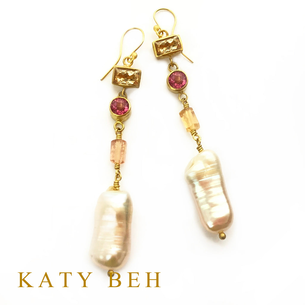 Mary Anne Imperial Topaz, Pink Topaz and Biwa Pearl Earrings