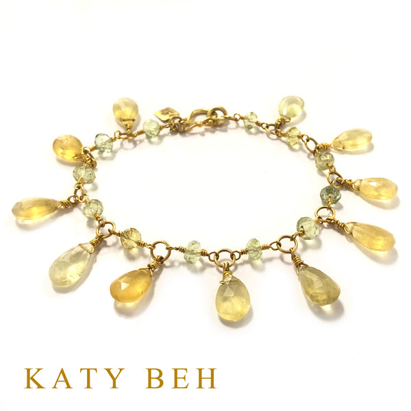 Mavis Yellow Aquamarine and Beryl Bracelet