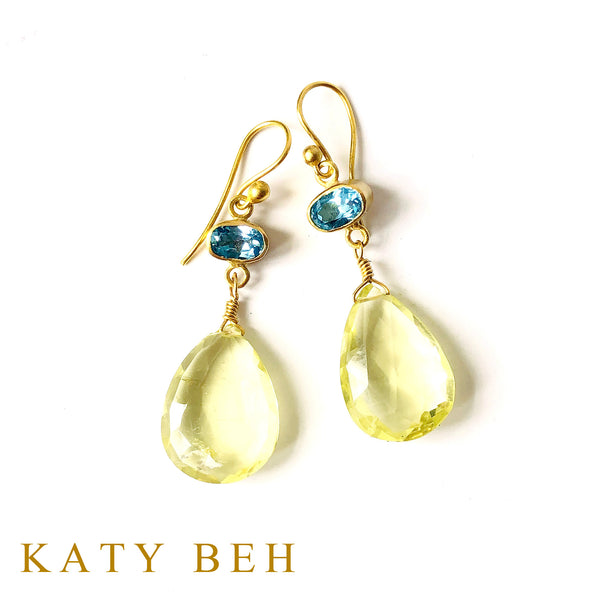 Monica Blue Topaz and Yellow Topaz Earrings