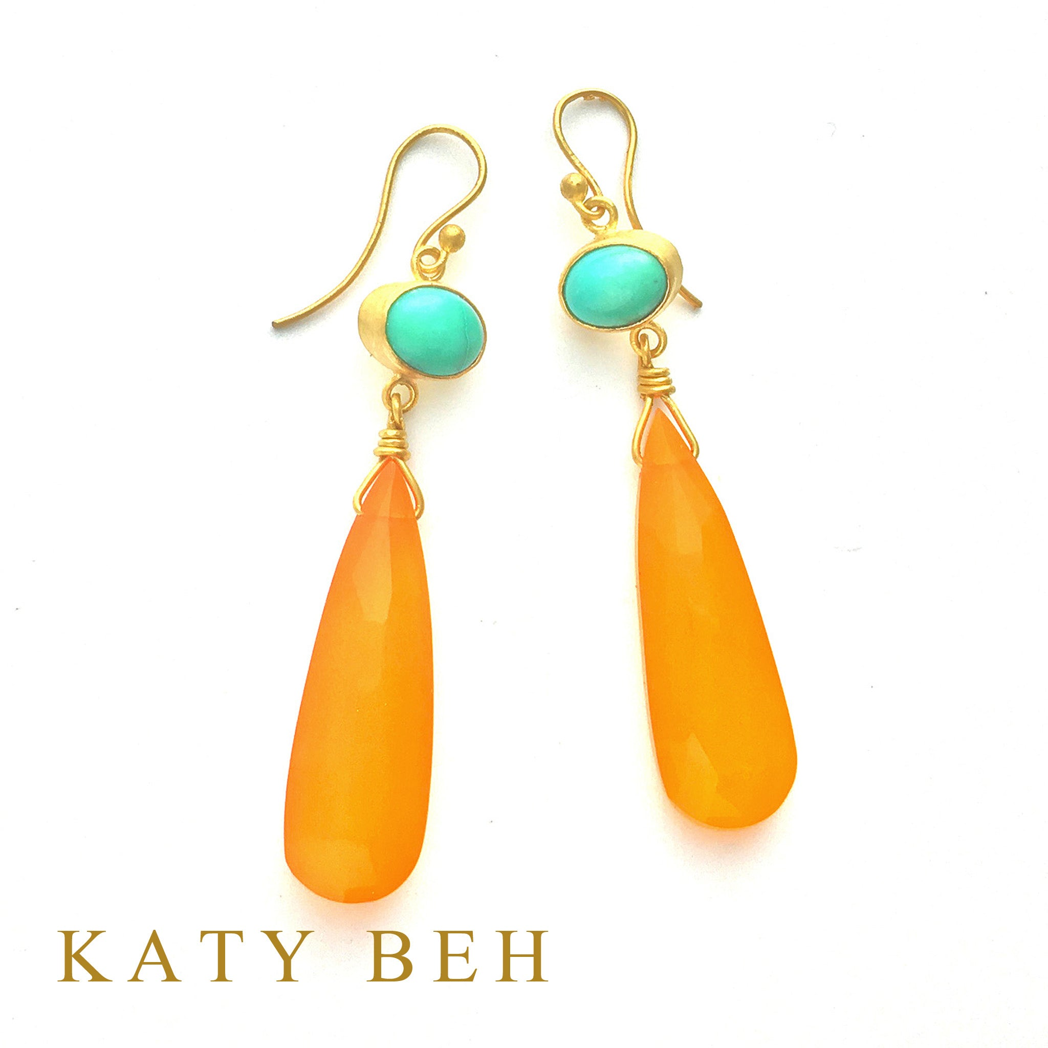 Morgan Turquoise & Orange Chalcedony Earrings