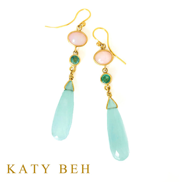 Niki Pink Opal, Emerald and Chalcedony Earrings