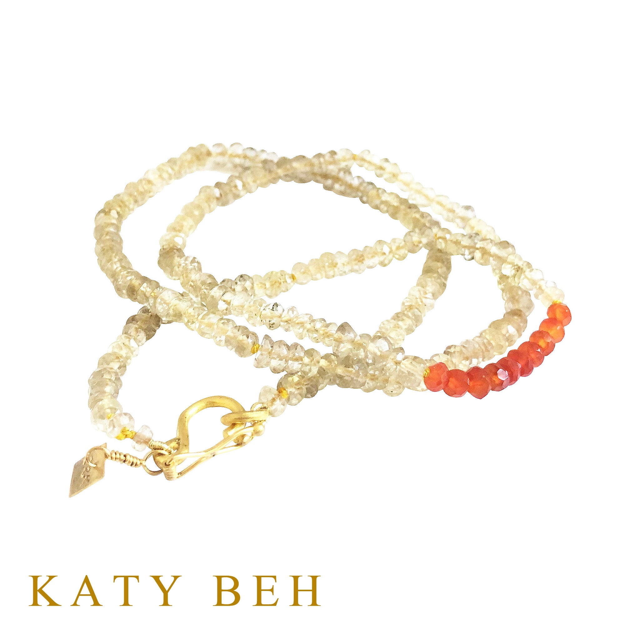 Portia Lemon Quartz and Carnelian Necklace