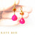 Rachel Fire Opal and Pink Chalcedony Earrings