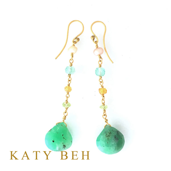 Ray Chrysoprase & Gemstone Mix Earrings