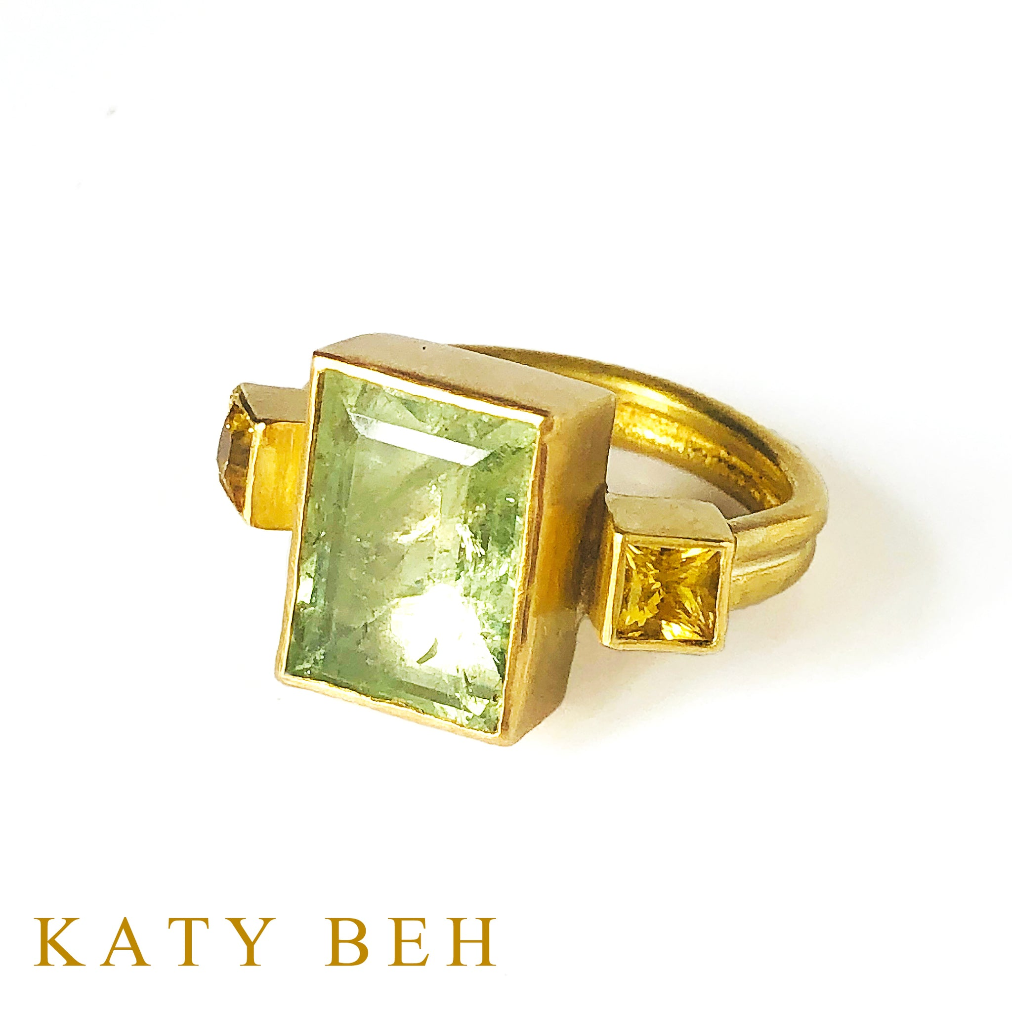 Remy Green Aquamarine and Yellow Sapphire Ring