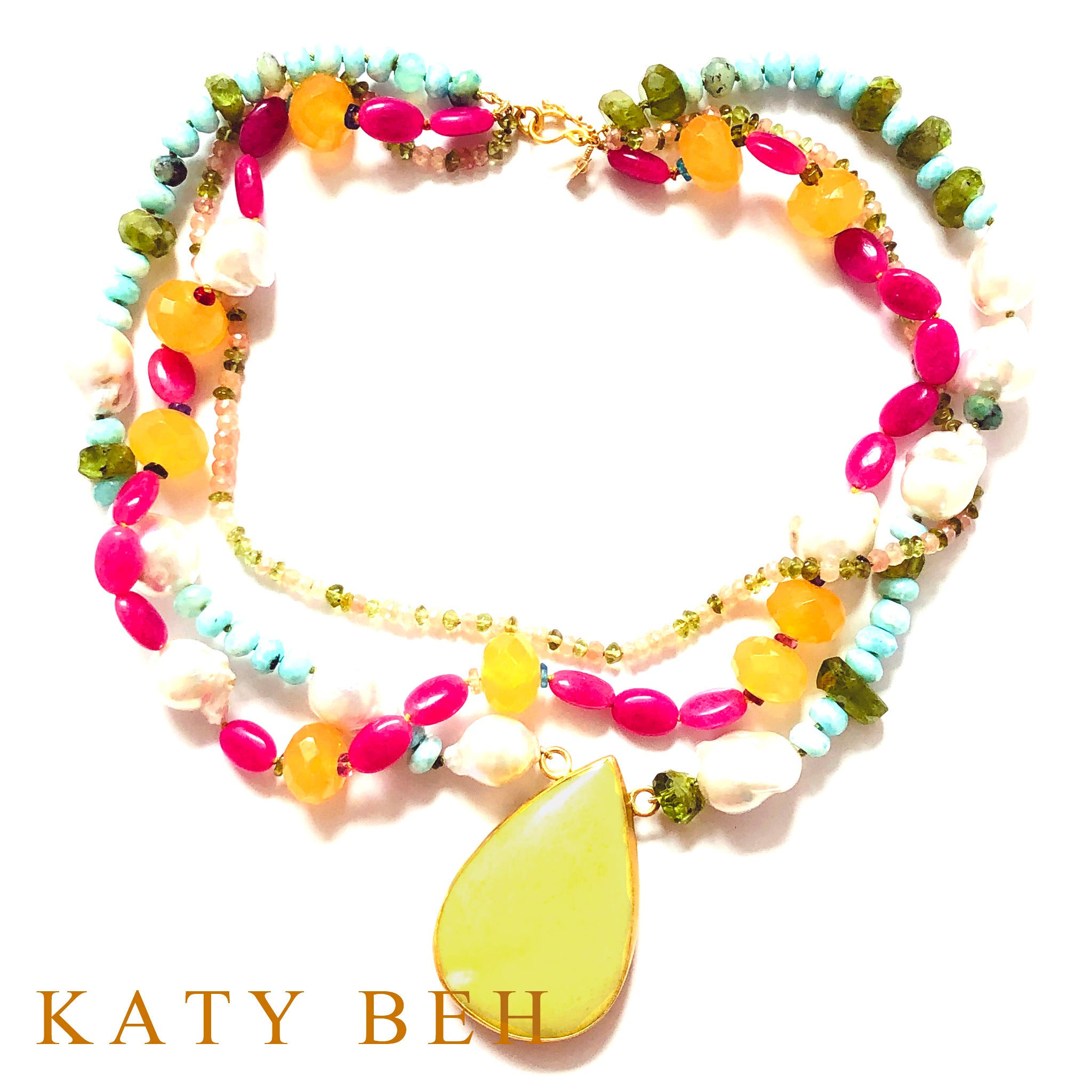Roma Serpentine and Mixed Semi-Precious Gem Necklace