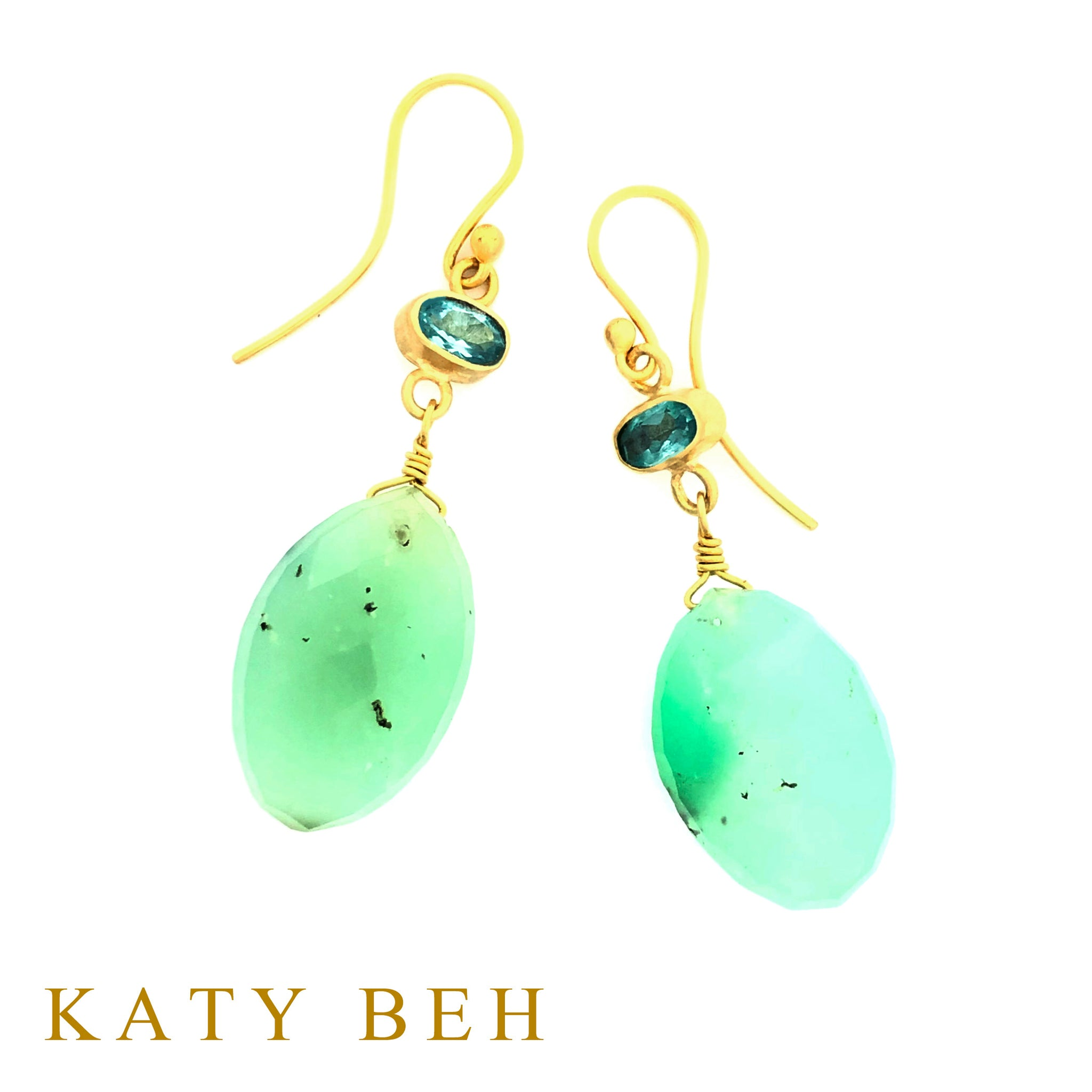 Ruth Apatite and Chrysoprase Earrings