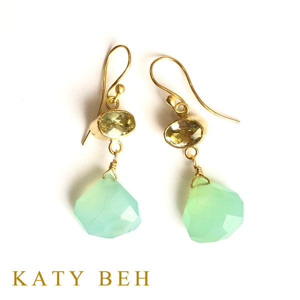 Selma Lemon Quartz and Mint Chalcedony Earrings