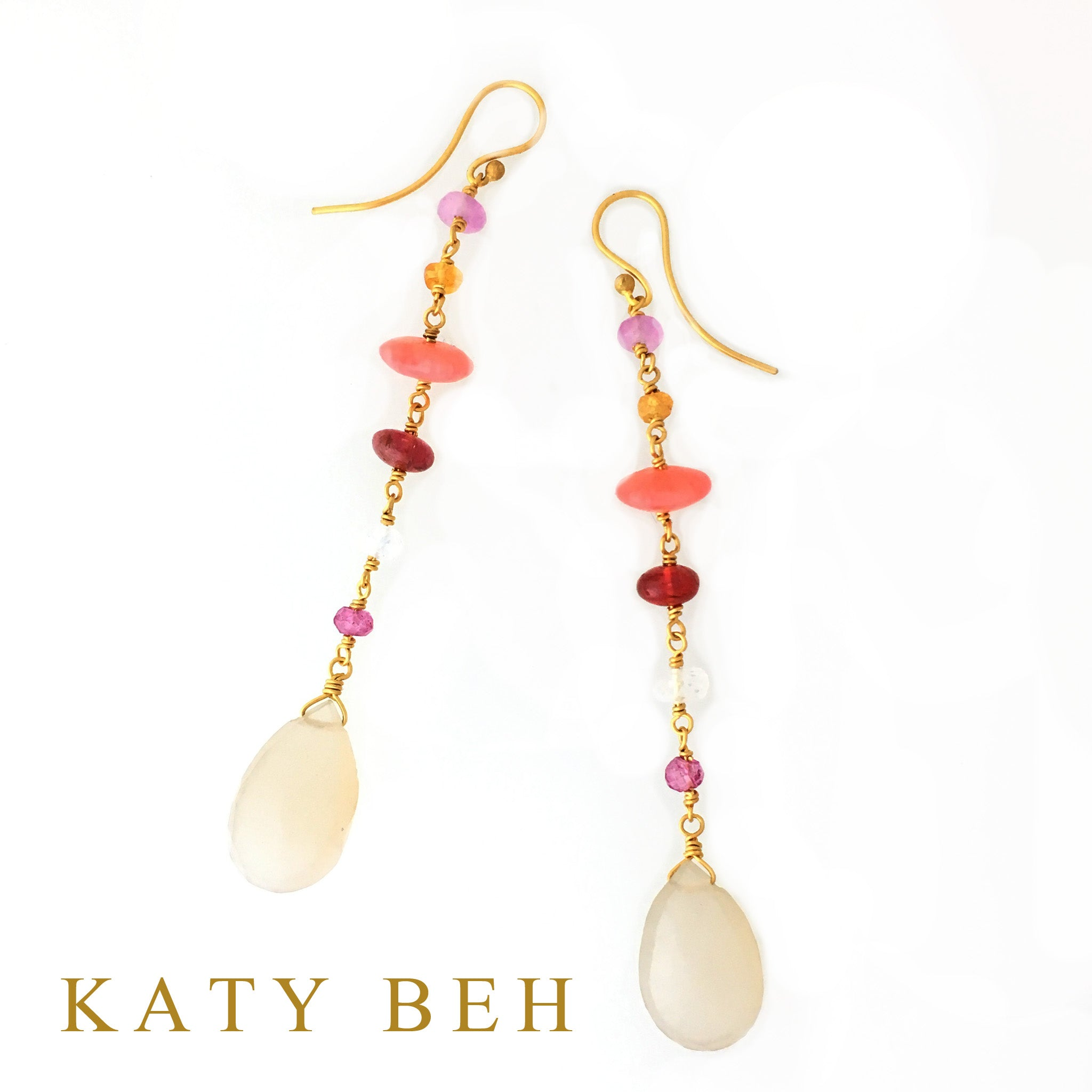 So Coral, Spinel & Moonstone Mix Earrings