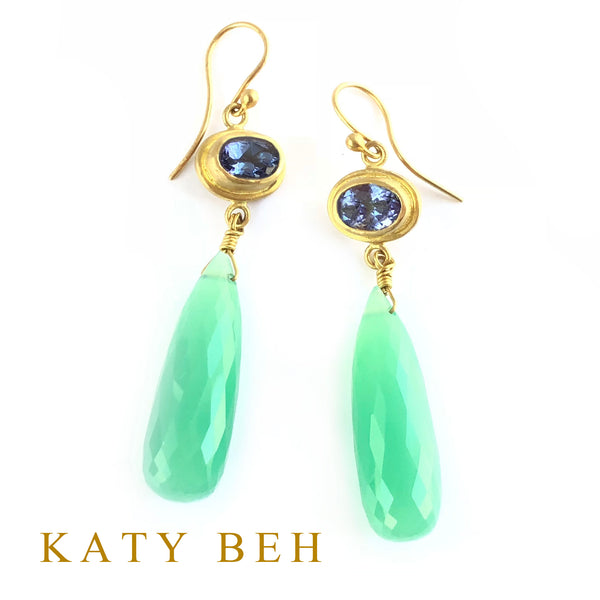 Susie Tanzanite  and Chrysoprase Earrings