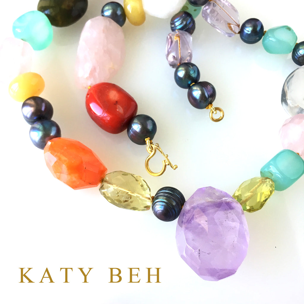 Tootsie Gray Pearl & Amethyst Mix Necklace