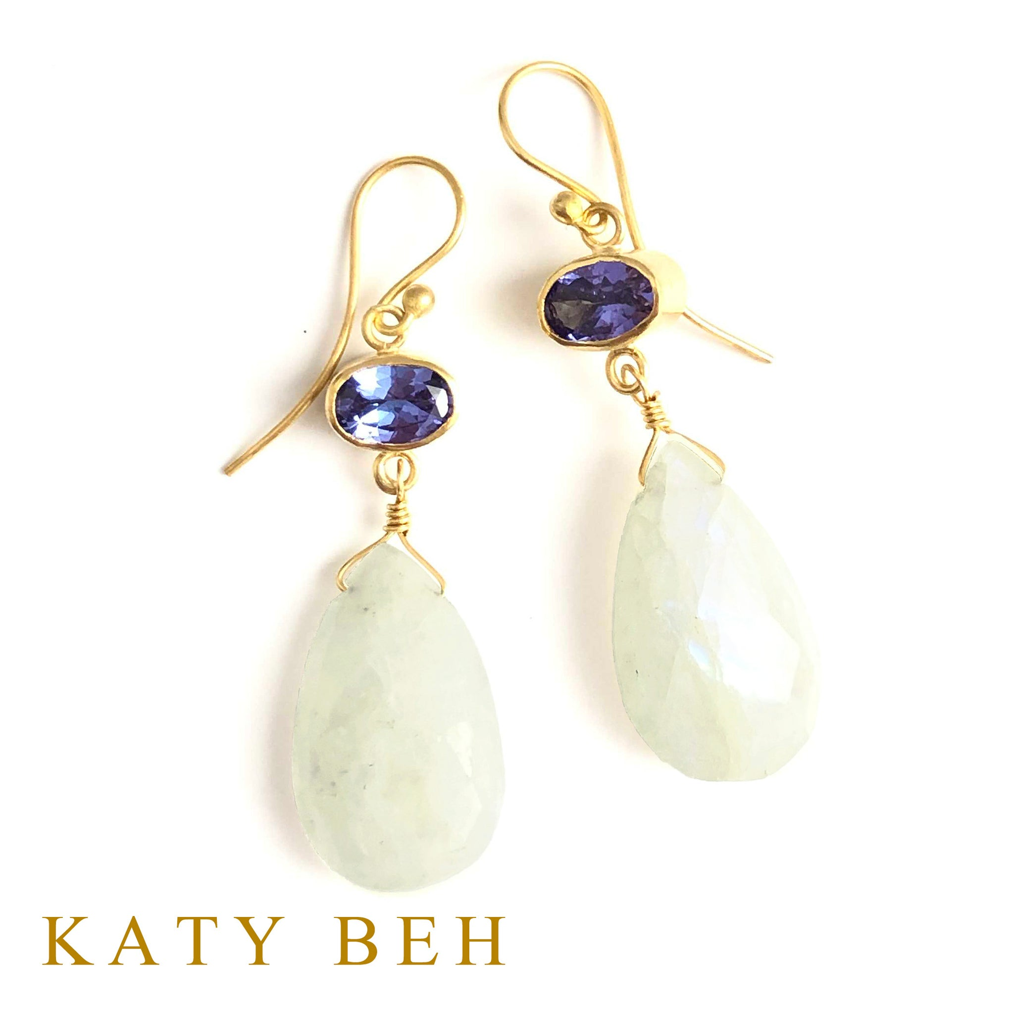 Wendy Tanzanite and Rainbow Moonstone Earrings