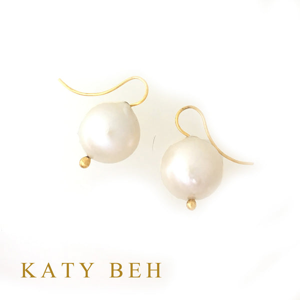 White Round Freshwater Pearl Earrings