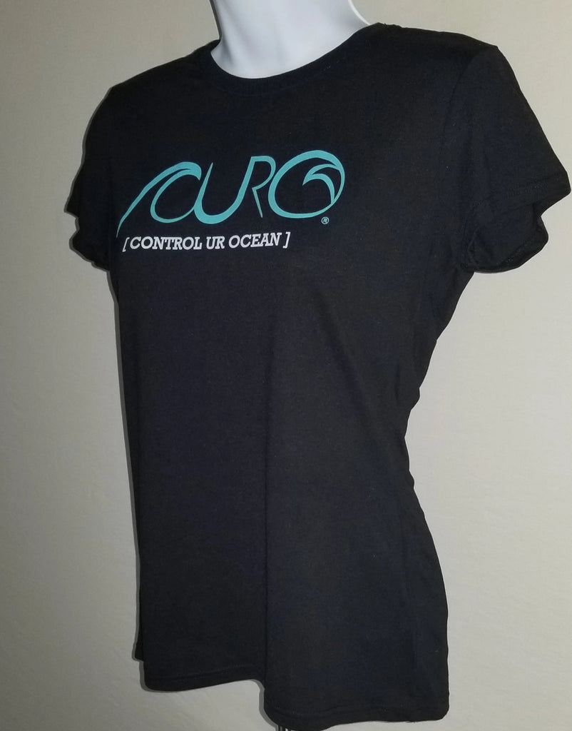 CURO Black T-Shirt With Aqua