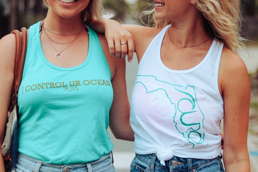 CURO White Tank Top With Teal Florida outline