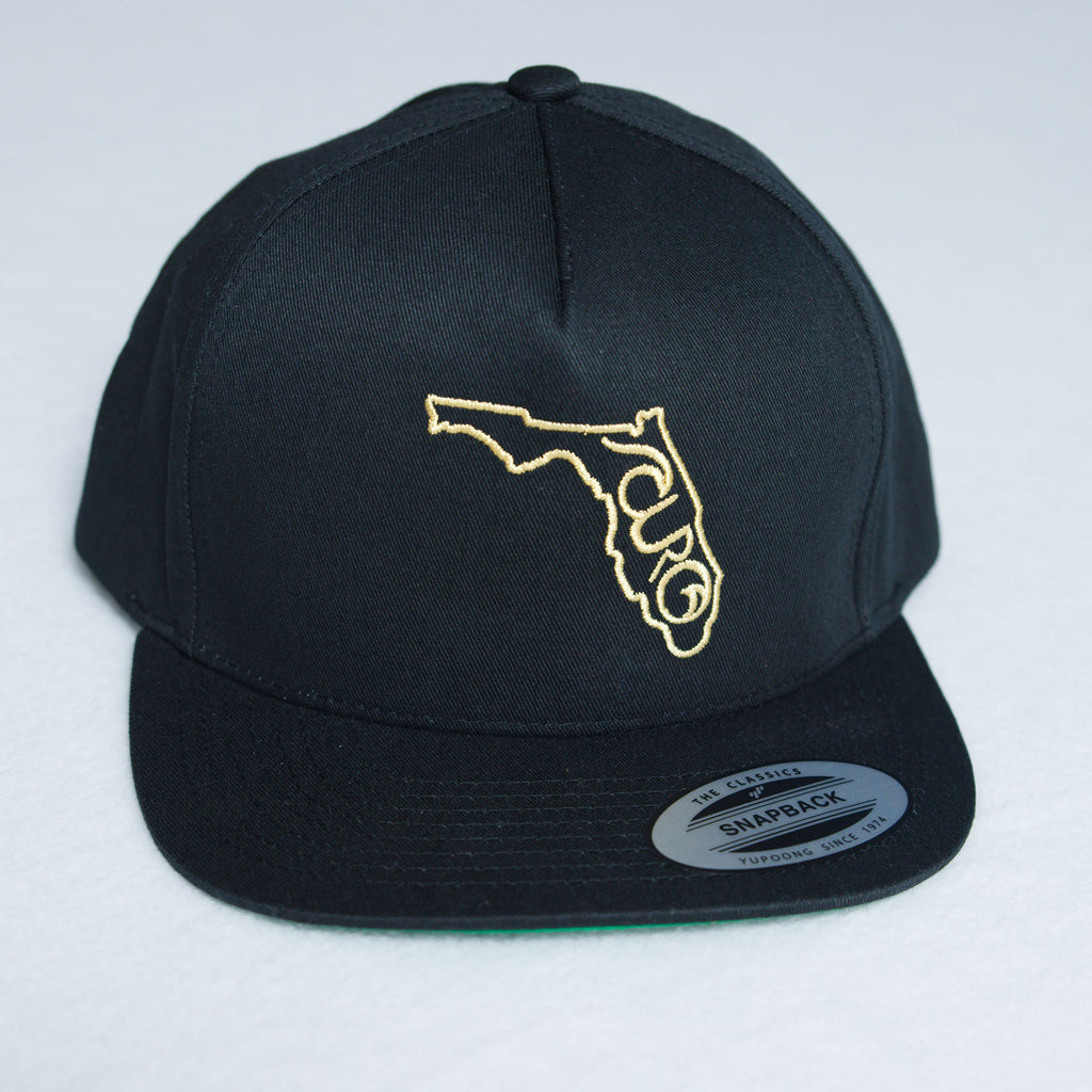 Black Florida Flat Bill Hat With CURO and Florida