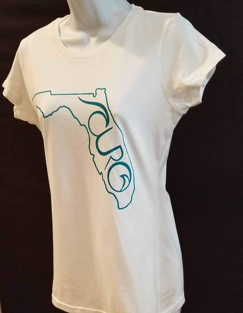 CURO White T-Shirt With Teal Florida Outline CURO