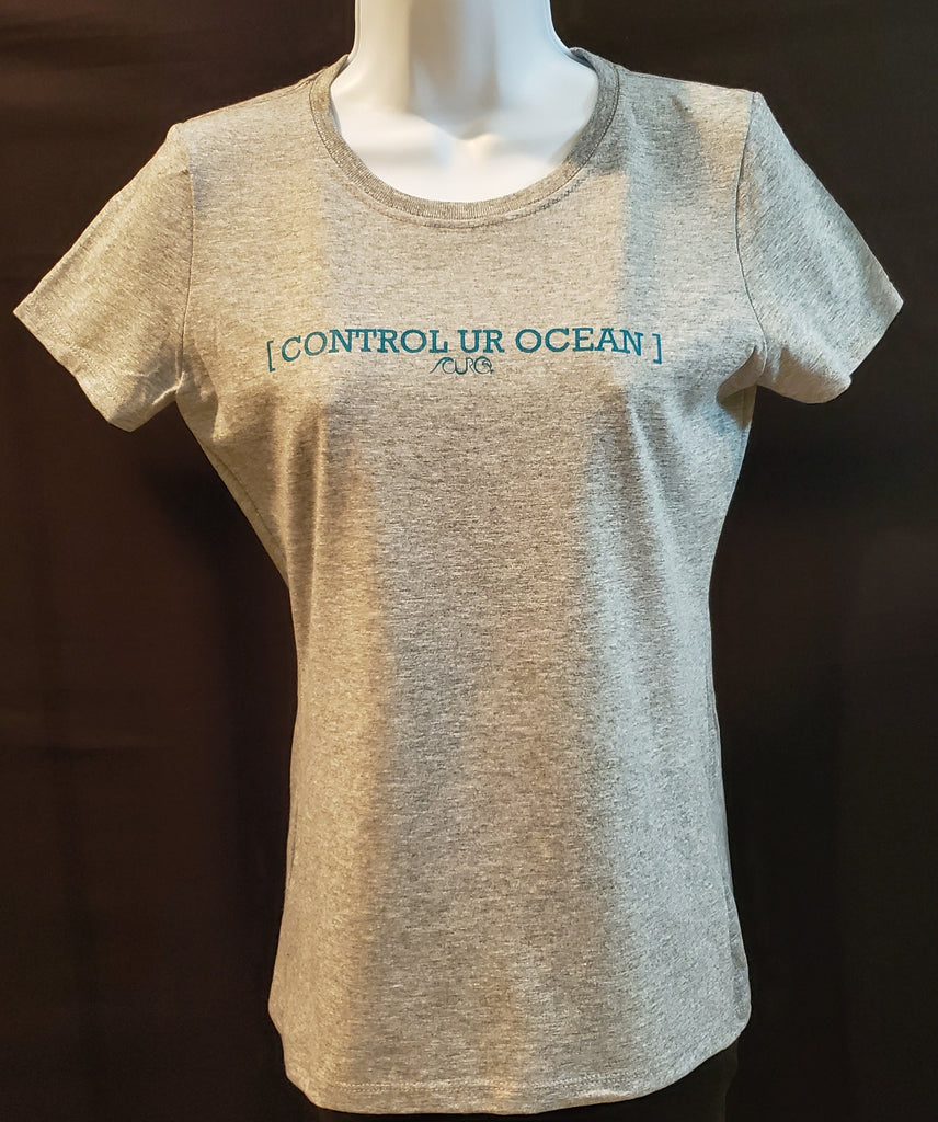Heather Gray  T-Shirt With Teal [CONTROL UR OCEAN]