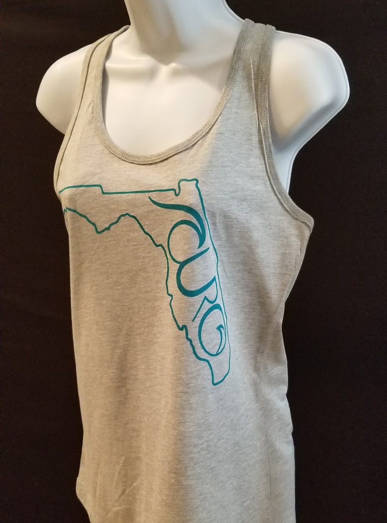 Gray Tank Top With Teal Florida CURO