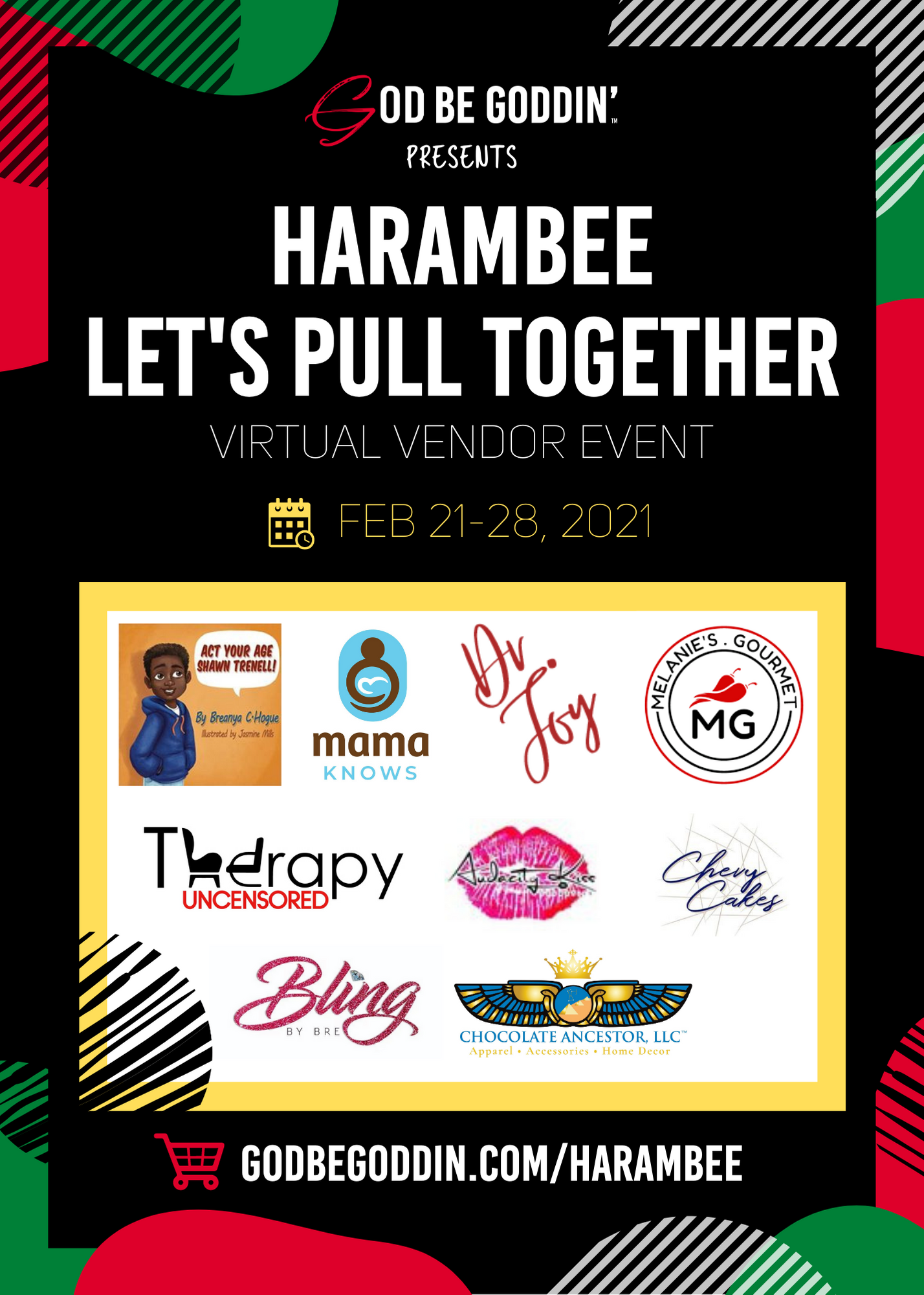 Harambee Let's Pull Together Virtual Vendor Event, February 21 through the 28th, 2021.
