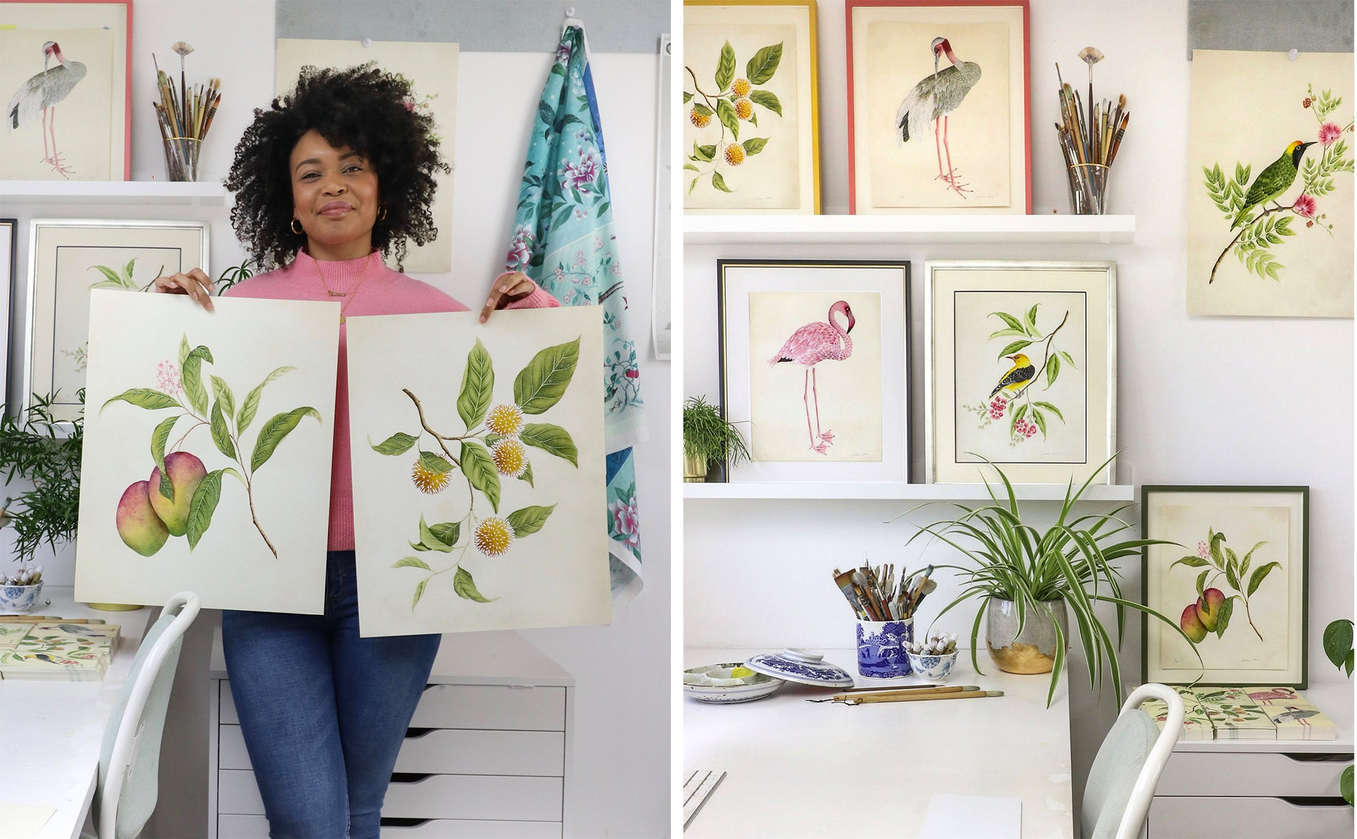 Diane Hill holding prints from her botanical collection in her London studio