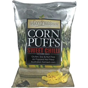 Sweet Chilli Flavoured Corn Puffs 35g – For Goodness Snacks