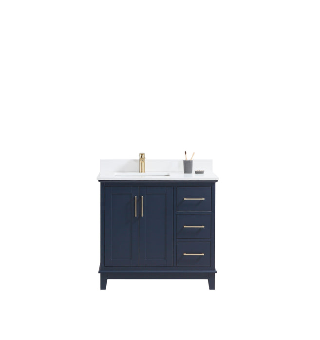 "CCS501 - 36"" Navy Blue, Floor Standing Modern Bathroom Vanity, White Quartz Countertop, Brushed Gold Hardware"