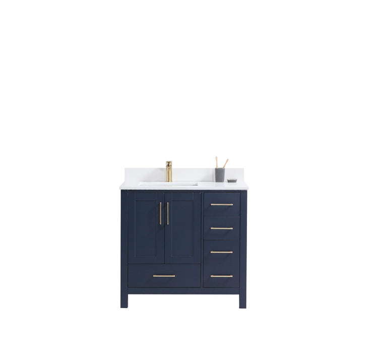 "CCS201 - 36"" Navy Blue, Floor Standing Modern Bathroom Vanity, White Quartz Countertop,Brushed Gold Hardware - Vanity Sale"