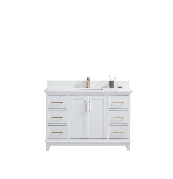 "CCS501 - 48"" White, Floor Standing Modern Bathroom Vanity, Calcatta Quartz Countertop, Brushed Gold Hardware"