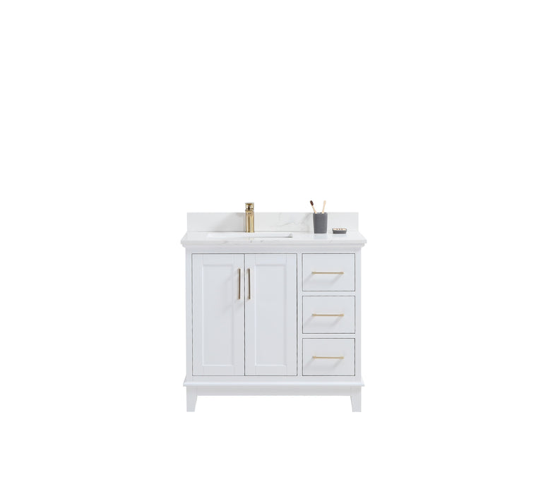 "CCS501 - 36"" White, Floor Standing Modern Bathroom Vanity, Calcatta Quartz Countertop, Brushed Gold Hardware - Vanity Sale"